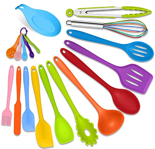 Cooking Utensils Set Clearance-Kitchen Utensils Set-18pcs 446°F Heat Resistant Turner Tongs Ladle Spoon Whisk Silicone Utensils Rest Tools Spatula Set for Nonstick Cookware Dishwasher Safe -Colorful