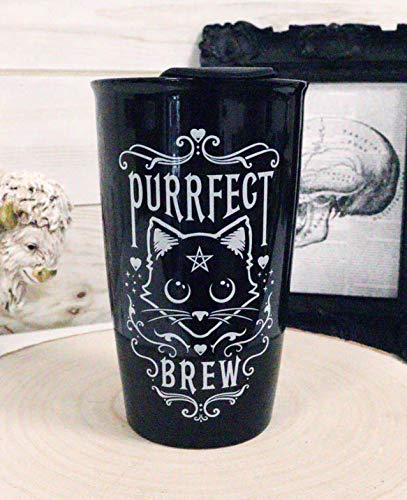 Ebros Gothic Wicca Purrfect Brew Pentagram Cat Witching Hour Double Walled Ceramic To-Go Travel Mug Cup With Lid 12oz Coffee Tea Drink Cups Mugs Alchemy Magic Occult Serveware Drinkware