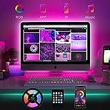 Bewahly LED TV Retroilluminazione 2M, Striscia LED RGB Smart USB Alimentata con Telecomando, Bluetooth APP Control, Impermeabile Strisce LED per a TV da 24-50 Pollici, PC Monitor e Camera da Letto