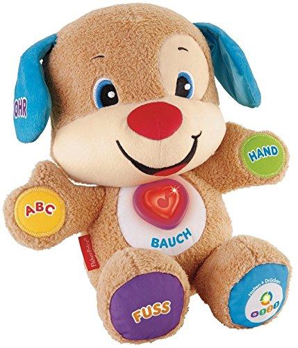 Fisher-Price CDL23 - Lernspaß Hündchen, Plüschtier und Lernspielzeug mit Liedern und Sätzen, mitwachsende Spielstufen, Baby Spielzeug ab 6 Monaten, deutschsprachig