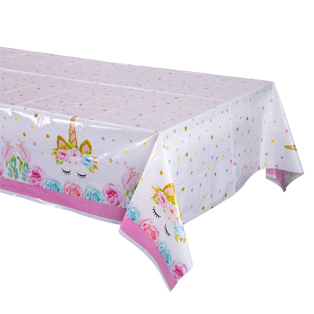 Unicorn Plastic Tablecloth,Unicorn Disposable Table Cover for Unicorn Birthday Party Decoration,Unicorn Magic Birthday Party Supplies for Girls or Baby Shower,86 X 51Unicorn Rectangle Tablecloth