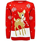 Janisramone Gamin Filles Garçons Nouveau Noël Bébé Deer Bambi Nouveauté Noël Tricoté Cavalier Chandail Top