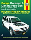 Dodge Durango 2000 thru 2003 & Dakota 2000 thru 2004 Pick-ups Haynes Repair Manual: Durango 2000 thru 2003 Dakota 2000 thru 2004 (Haynes Repair Manual (Paperback))