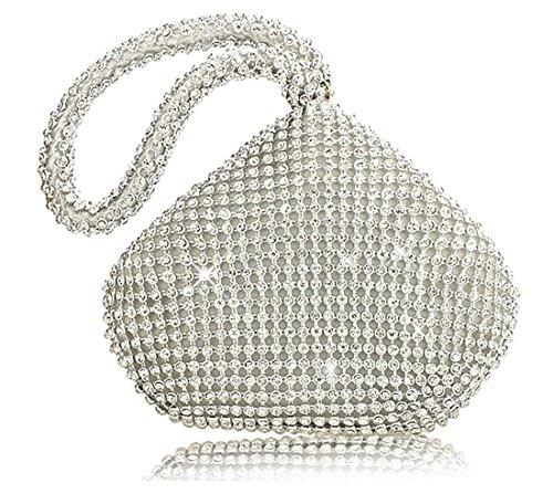 Pochette da sera scintillante, mini borsetta glitterata con strass e...