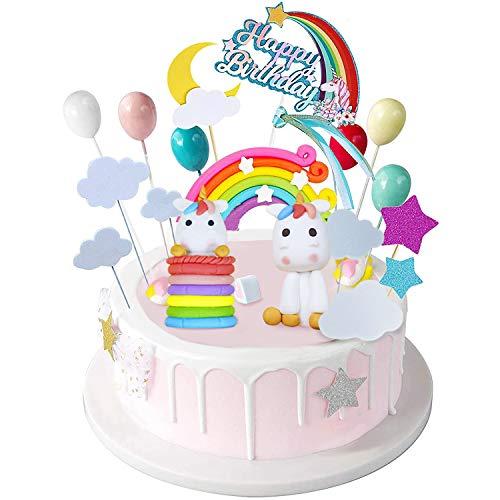 PushingBest Tortendeko Einhorn Geburtstagdeko Kuchendecoration, Regenbogen, Ballon, Einhorn, Happy...