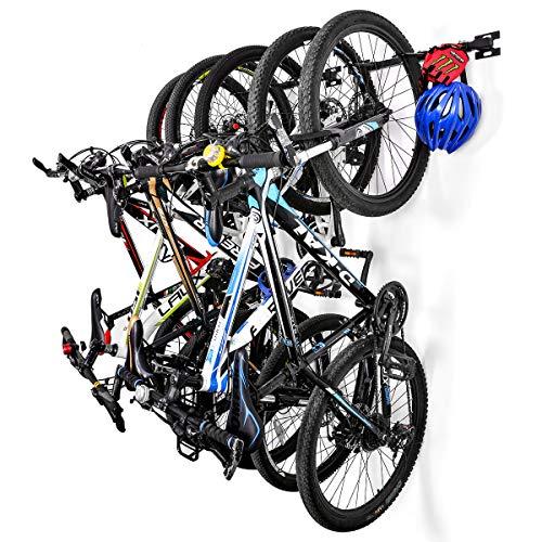 Sunix Soporte Bicicleta Suspensión, Soportes de Almacenamiento para Bicicletas Colgante hogar y Garaje Montaje en la Pared, Soporta hasta 5 Bicicletas, Paquete de 2