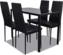 vidaXL Dining Furniture Set 5 pcs Black Home Kitchen Dinner Room Table Chairs