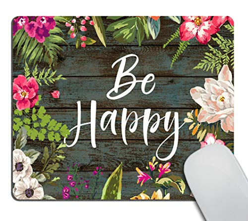 Smooffly Floral Mouse Pad Motiavation Quote Be Happy Neoprene Inspirational Quote Mousepad Office Space Decor Home Office Computer Accessories Mousepads Watercolor Vintage Flower Design