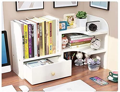 Bookcase Home - Estantería de escritorio de madera extensible para almacenamiento de oficina, estante de almacenamiento de oficina, organizador de escritorio XMJ (color blanco)
