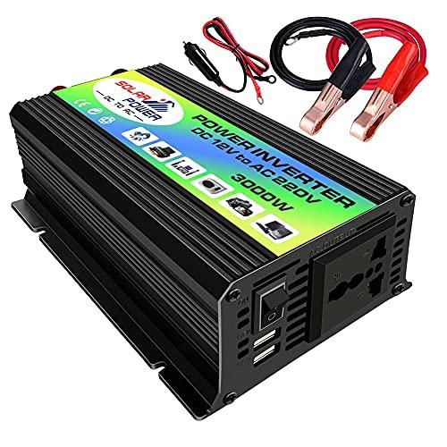 Inversor de Corriente para Coche de 12v a 220v 3000W,Convertidor de Transformador de Capacidad de Voltaje de inversor de Corriente para móvil Pad y Tableta(Potencia 300W)