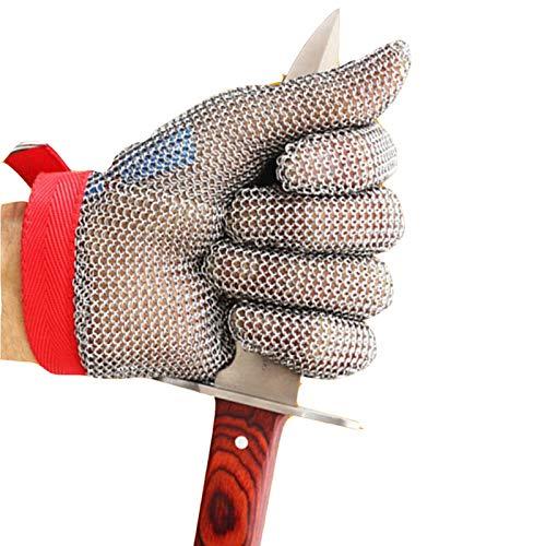 Schnittfeste Handschuhe-XHZ Einzelne Anti-Schneid-Stahldrahthandschuhe Edelstahlhandschuhe der Klasse 5 Schutzhandschuhe zum Schlachten, Schneiden von Fleisch und Fisch (Size : Medium)
