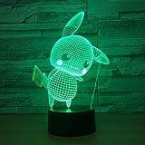 orangeww Lámpara de ilusión 3D / Helicóptero/Apple/Felicidad/Cerebro/Asistente / 7 colores cambiantes/Luz nocturna LED/Acrílico plano/LED/Interruptor táctil Deskv Elf