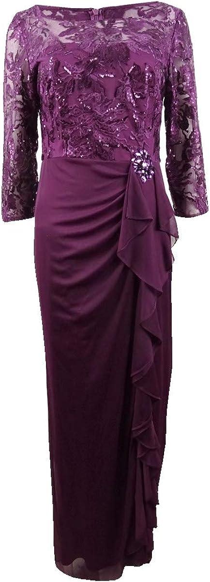 Alex Evenings Women's Long Column Dress with Ruffle Skirt (Petite and Regular)