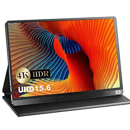 Monitor portatile 4K UHD da 15.6 pollici IPS schermo portatile 100% SRGB supplementario HDMI USB Type-C, per computer portatile, rdinatore di ufficio, PC, telefono cellulare, X Box, PS4