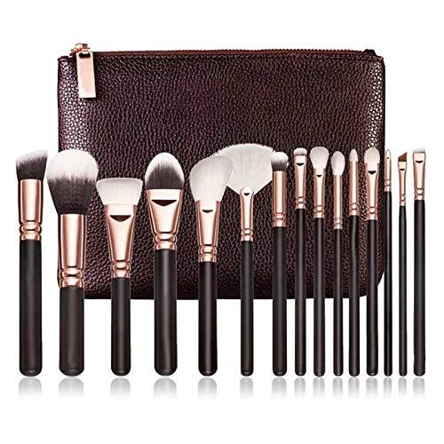 MEISINI Makeup Brush Set Make Up Tools Kit Powder Brushes Eye Shadow Foundation Eyeliner Eyelash Lip Makeup Brush, 15Pcs With Bag