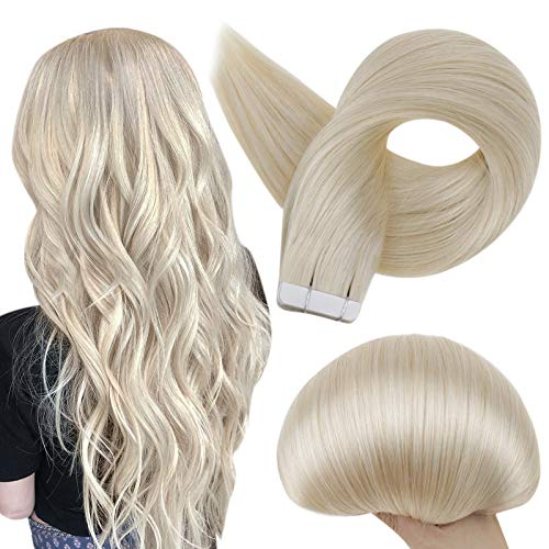 Full Shine Fashion Tape Hair Extensions Real Human Hair Couture Short 12 Inch Color 60 Platinum Blonde Tape in Remy Extentions 20 Pieces 30G Full Thick Ends Hair Piece for Invisible Tape Extensions
