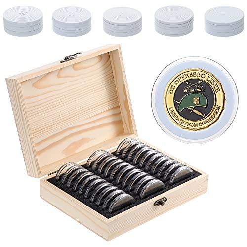 HonGien Caja de almacenamiento de dinero en efectivo para monedas de madera, 30 unidades, con exhibición de monedas, caja de colección conmemorativa, caja de protección de monedas