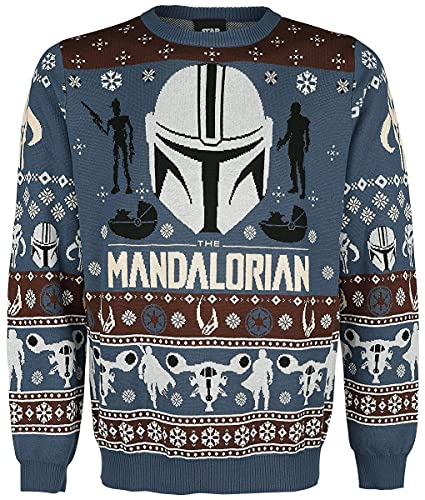Star Wars The Mandalorian - Bounty Hunter Uomo Christmas Jumper Multicolore S