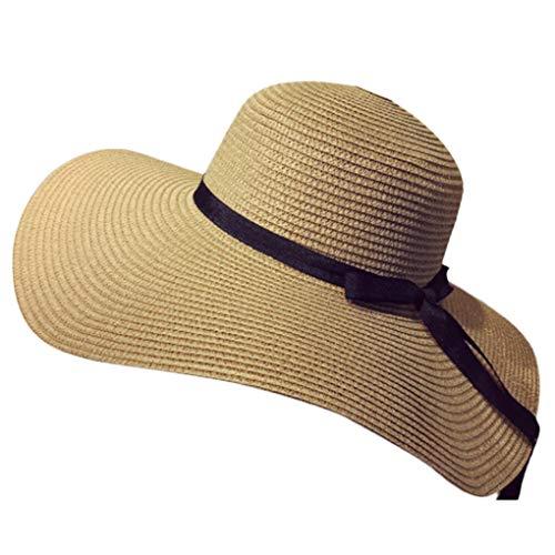 Chunyang Frauen Bowknot große Rand-Stroh-UV-Schutz-Haube Hut Faltbare Strand-Sommer-Cap Damen Urlaub Sunbonnet