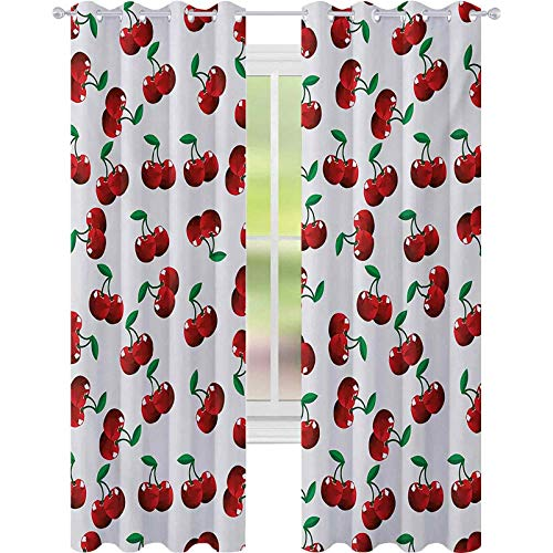light blocking curtains, Vibrant Cherries Vitamin Agriculture Exotic Summer Garden Pattern, W52 x L108 Blackout Drape for Dining Room, Ruby Hunter Green Coconut