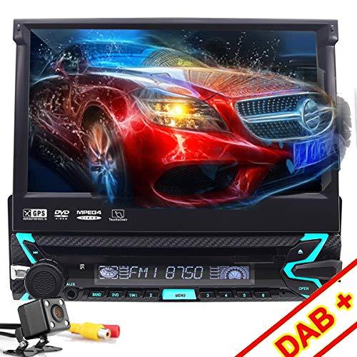 1 DIN Reproductor DVD para Coche, FOIIOE 7' Pantalla Táctil Bluetooth Navegador GPS Radio con función retráctil automática, cámara retrovisora Vídeo Estéreo USB AUX Control de Volante