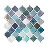 Teal Arabesque Peel and Stick Tile for Kitchen Backsplash,Decorative Backsplash Peel and Stick,Stick on Tiles for Backsplash,Smart Tiles Peel and Stick Backsplashes (5 Sheets)