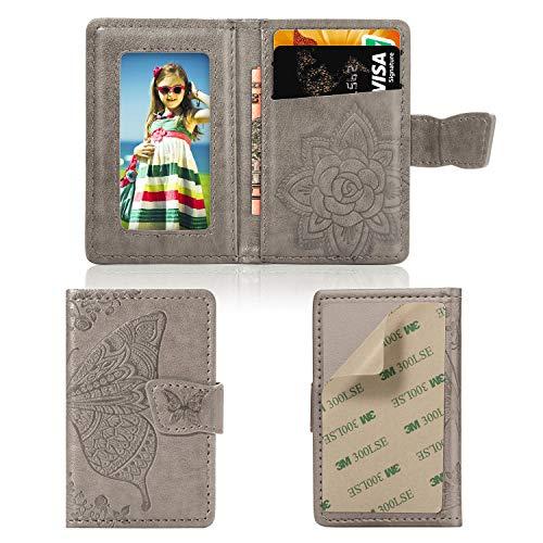 Cmeka Handy-Brieftasche, Kreditkartenhalter für die Rückseite der Handytasche, 3M-Klebefolie, Kartenhülle für iPhone/Samsung Galaxy/Sony/Android und die meisten Smartphones (graues Schmetterling)