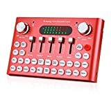 Bluetooth Live Sound Card, Audio DJ Mixer with Multiple Sound Effects for Live Streaming, Music Recording, Online Game, Singing, Support Mobile Phone, iPhone, PC, Laptop, Tablet -red
