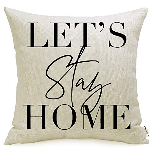 Meekio Farmhouse Pillow Covers with Lets Stay Home Quote 18 x 18 for Farmhouse Dcor Housewarming Gifts New Home Gifts
