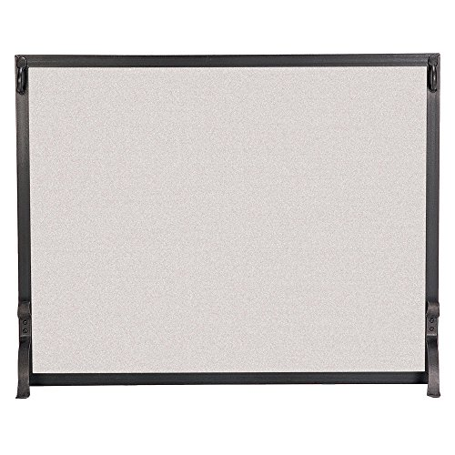 Pilgrim Home and Hearth 18287 Forged Iron Single Panel Fireplace Screen, 44″W x 33″H, 25 lbs, Matte Black