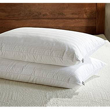 downluxe Goose Feather Down Pillow - Set of 2 Bed Pillows for Sleeping with Premium 100% Cotton Shell,Queen