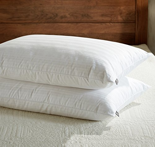 downluxe Goose Feather Down Pillow - Set of 2 Bed Pillows for Sleeping with Premium 100% Cotton...