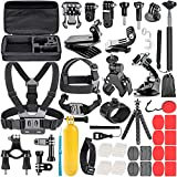 Neewer 58-en-1 Kit d'Accessoires d'Appareil Photo pour GoPro Hero 9 8 Max 7 6 5 4 Black GoPro 2018 Session Fusion Silver White Insta360 DJI AKASO APEMAN Campark SJCAM Appareil Photo d'Action etc.