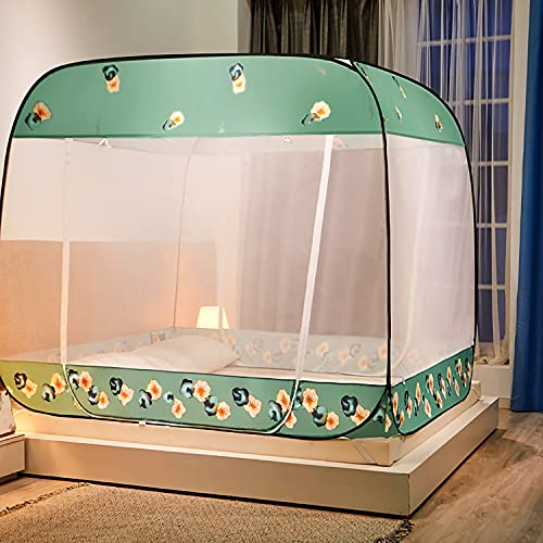 Free Installation Pop-Ups Mosquito Beds Bed Curtains The Finest Holes Protect You and Your Family's Internal Storage Bag for Most Beds,Green,1.2M