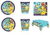 Party Store web by casa dolce casa Pokemon Pikachu Coordinato ADDOBBI TAVOLA Festa Pokemon- Kit n°6 CDC-(8 Piatti,8 Bicchieri,16 TOVAGLIOLI , 1 TOVAGLIA)