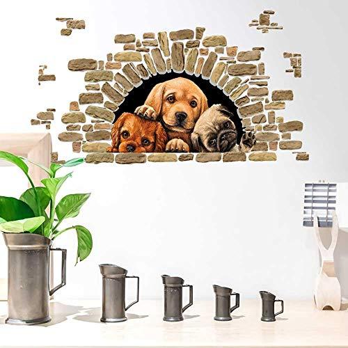 PMSMT Lindos Tres Cachorros Pegatinas de Pared Dormitorio Sala de Estar para decoración del hogar calcomanías para habitación de niños decoración de Fondo Perros encantadores Pegatina