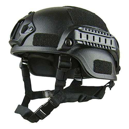 Jitong Taktischer Helm Militär-Stil Schutzhelm für Airsoft Paintball Outdoor-Sportarten Mountainbike Radfahren CQB Shooting - Schwarz