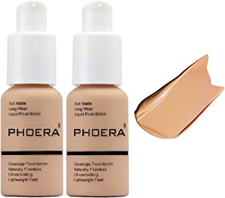 2 Pack Phoera foundation, Brighten Highlighting Matte Oil Control Concealer Facial Blemish Concealer Color Changing Foundation for Women Girls,104 Buff Beige-30ml