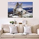 N / A Pintura sin Marco Snow Mountain Lone Wolf Lienzo Pintura Animal patrón póster Arte de la Pared Pintura Mural decoración del hogar Pintura ZGQ7492 50x75cm