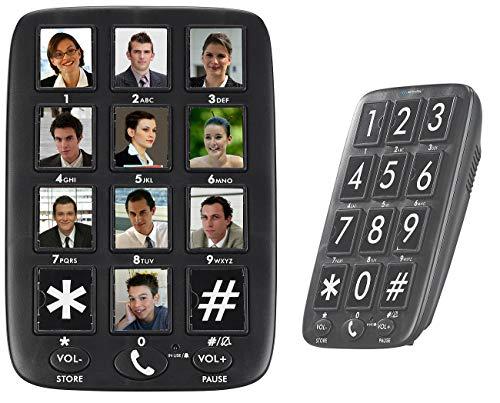 simvalley communications Festnetztelefon: Senioren-Festnetz-Telefon mit 12 Foto-Schnellwahl-Tasten, Freisprecher (Wandtelefon)