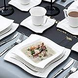 MALACASA, Serie Amparo, 60 TLG. Cremeweiß Porzellan Geschirrset Tafelservice mit Kaffeeservice, Dessertteller, Suppenteller und Flachteller für 12 Personen - 3