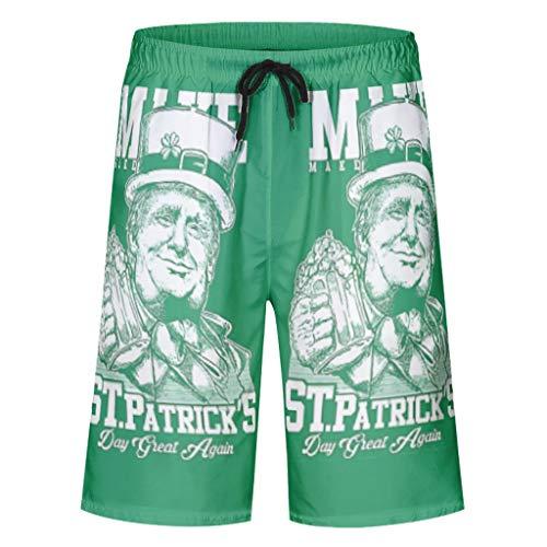 O2ECH-8 St Patricks Day patroon gedrukte shorts casual atletisch sneldrogend - badpak met elastiek voor jongens