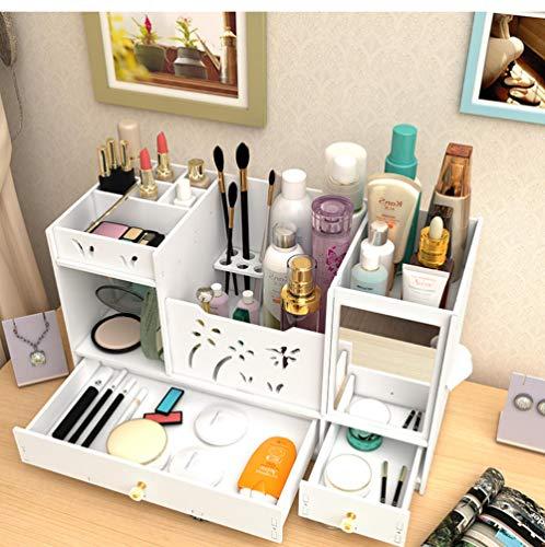 YHZY Wasserdicht Mit Spiegel Desktop Makeup Aufbewahrungskommode Kosmetikbox Lippenstift Schmuckregal Aufbewahrungsregal 45X19X26Cm