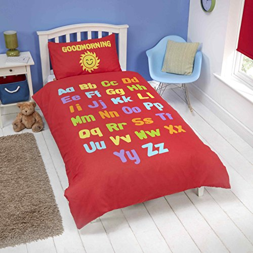 Parure de lit réversible pour lit simple Motif alphabet, chiffres et formes Rouge/blanc