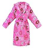 Women's Hooded Printed Flannel Fleece Bathrobe Robe w/ Side Pockets,Donuts,Short