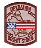 Desert Storm Map US Flag Patch, Military Patches