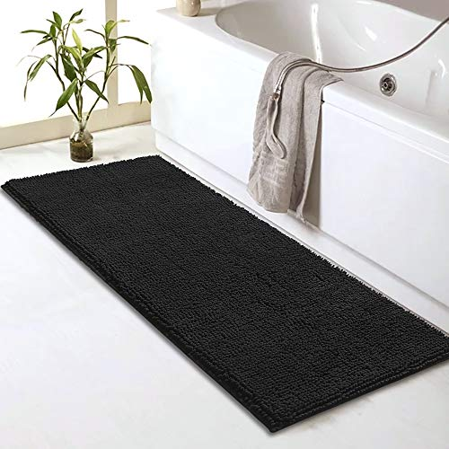 Bathroom Rug Mat Non Slip Grey Bath Mats for Bathroom Tub and Sink - Fluffy Soft, Ultra Absorbent and Machine Washable Striped Chenille Noodle Bath Rugs for Bathroom (59' x 20', Black)