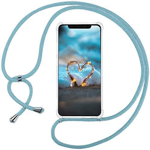 Mi-Case MiCase Funda con Cuerda para Xiaomi Mi 5S, Carcasa Transparente TPU Suave Silicona Correa Colgante Ajustable Collar Correa de Cuello Cadena Cordón - Cielo Azul