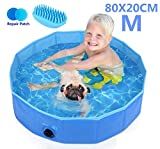 Pecute Paddling Pool for Pets & Kids Medium 80x20cm,Sturdy Foldable Dog Swimming Pool Bathtub...