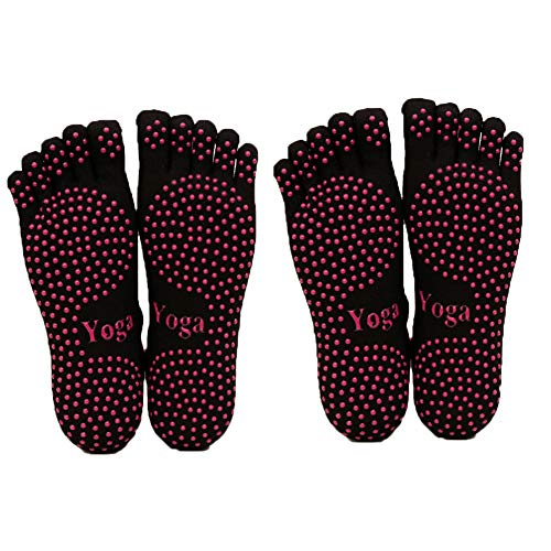 ThreeH Yoga Socken rutschfest Fünf-Finger für Frauen Yoga Pilates Dance Ballet 2 Pairs Size4.5-6